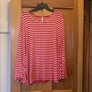 Red and white striped tee